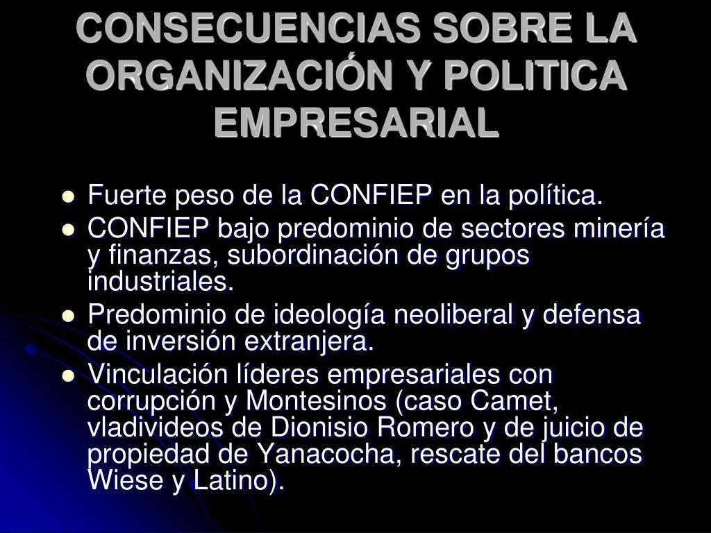 CONSECUENCIAS SOBRE LA ORGANIZACIÓN Y POLITICA EMPRESARIAL