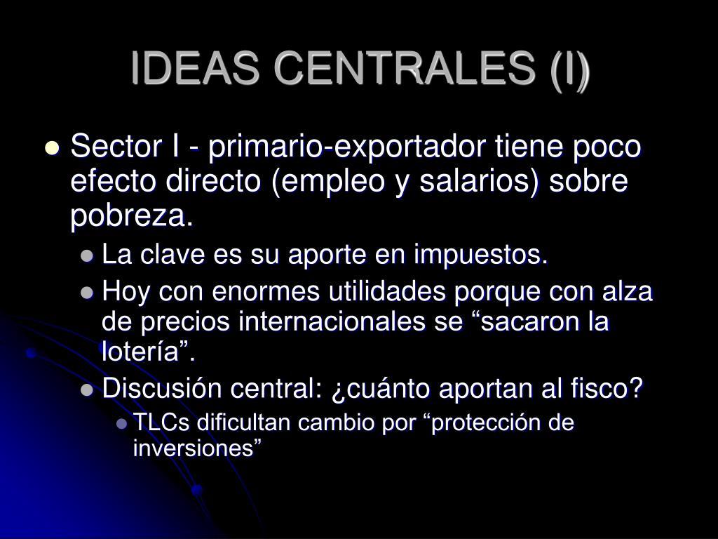 IDEAS CENTRALES (I)