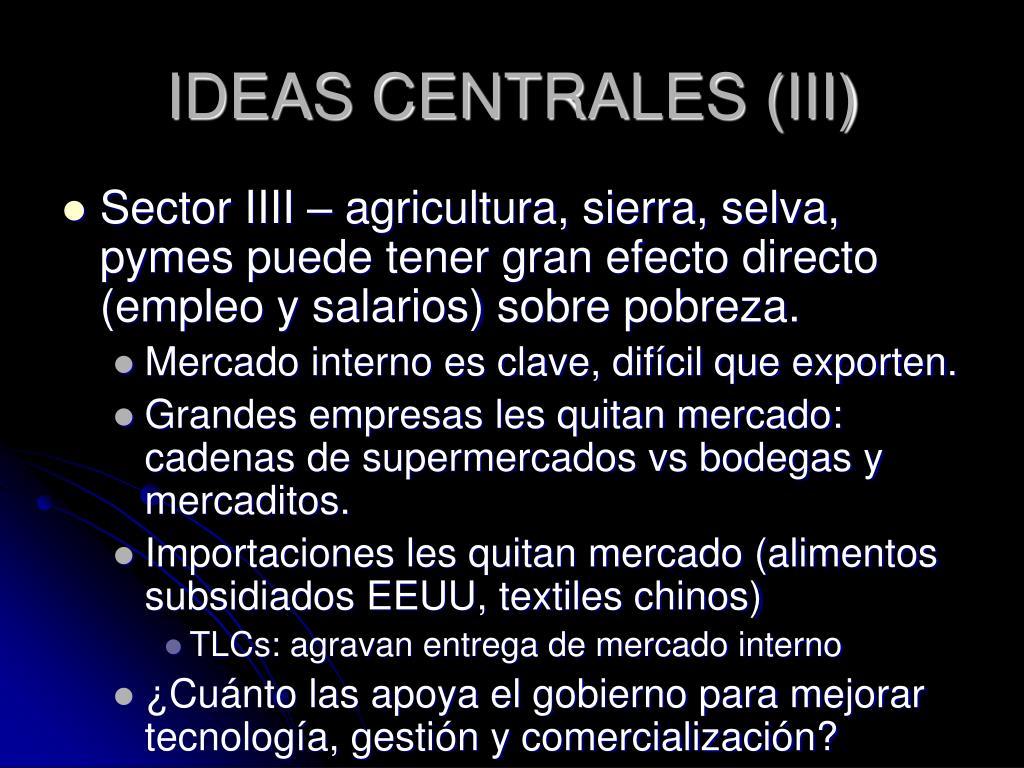 IDEAS CENTRALES (III)