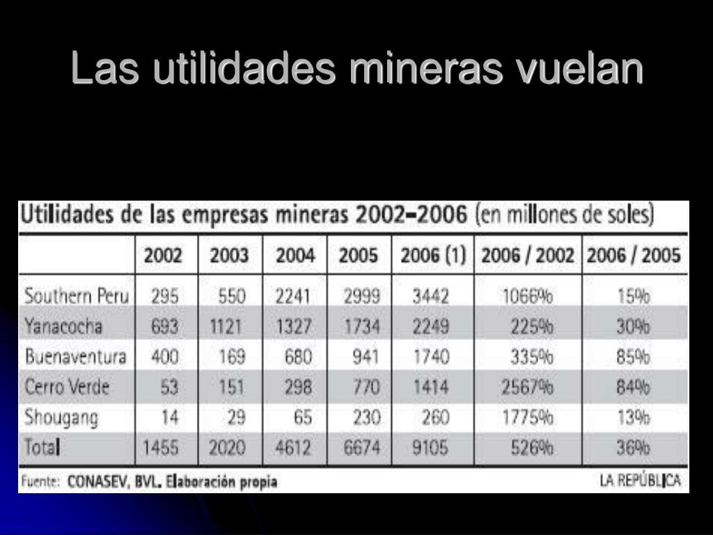 Las utilidades mineras vuelan