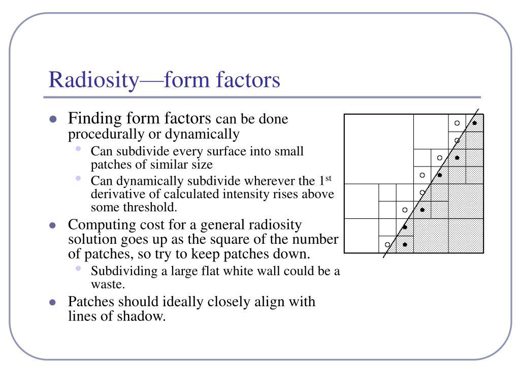 Radiosity—form factors