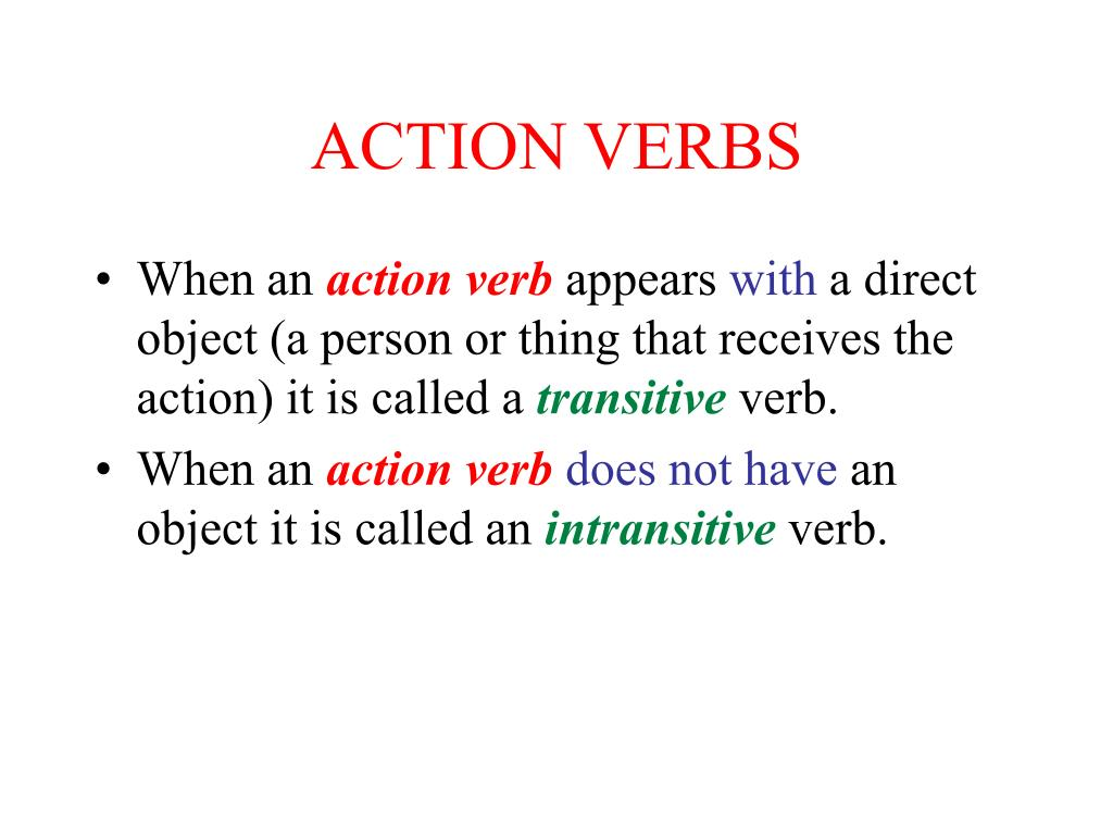 PPT - ACTION VERBS PowerPoint Presentation - ID:174671