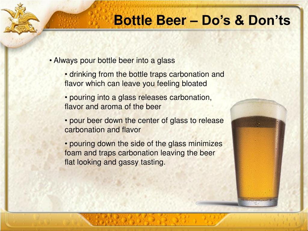 Bottle Beer – Do's & Don'ts
