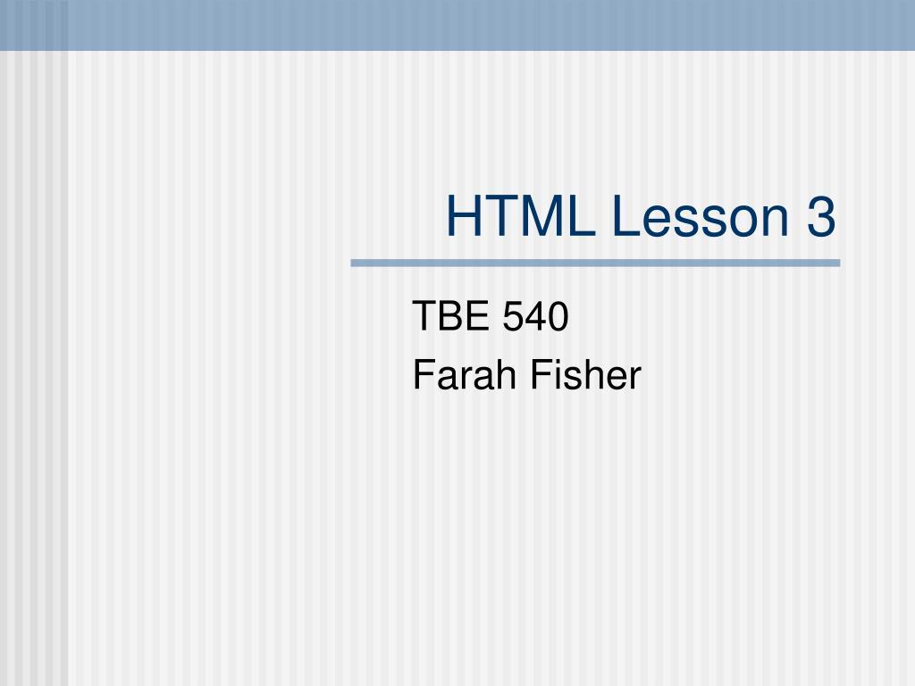 HTML Lesson 3