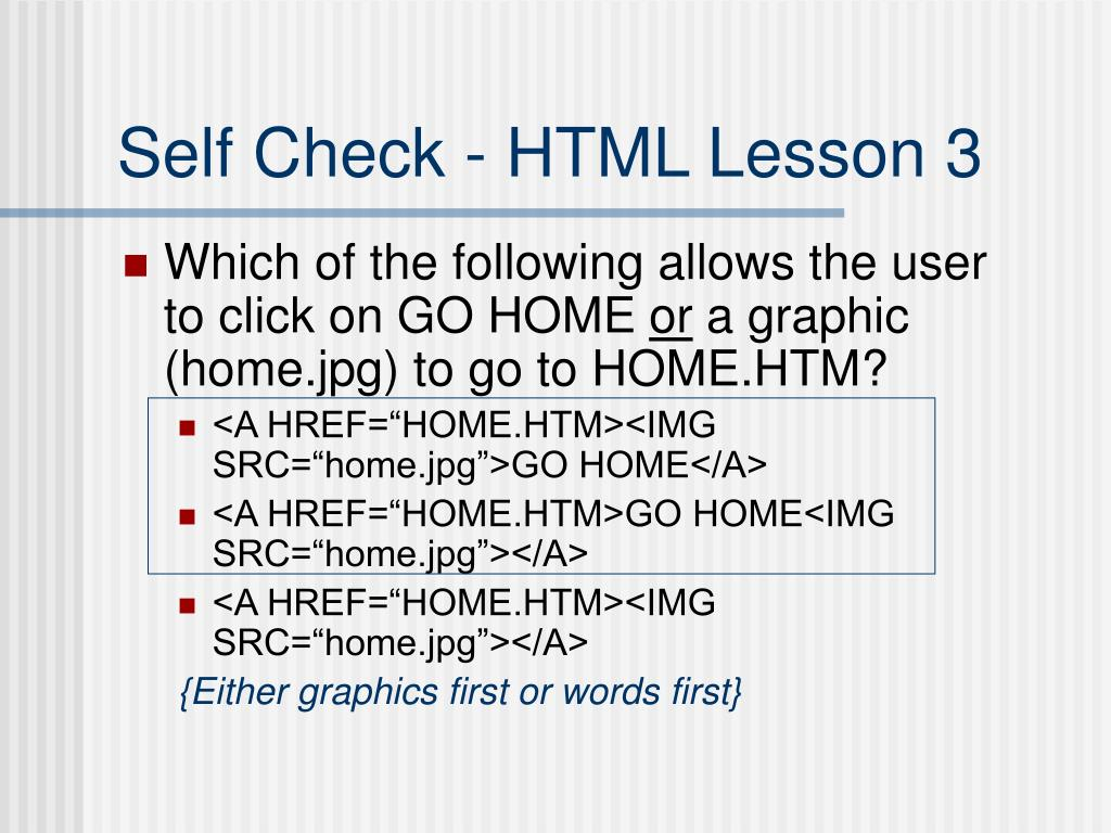 Self Check - HTML Lesson 3