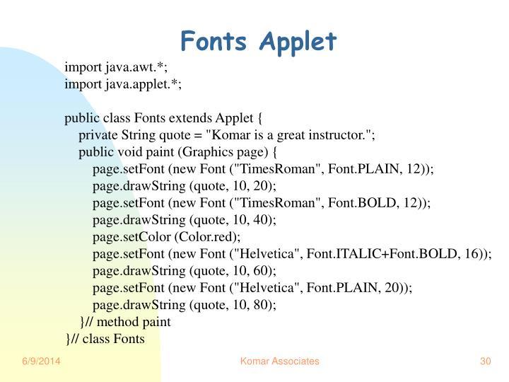 Fonts Applet