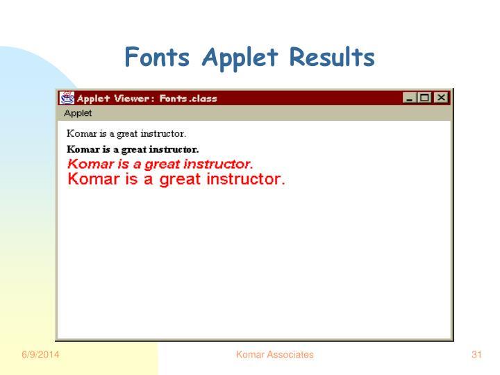 Fonts Applet Results