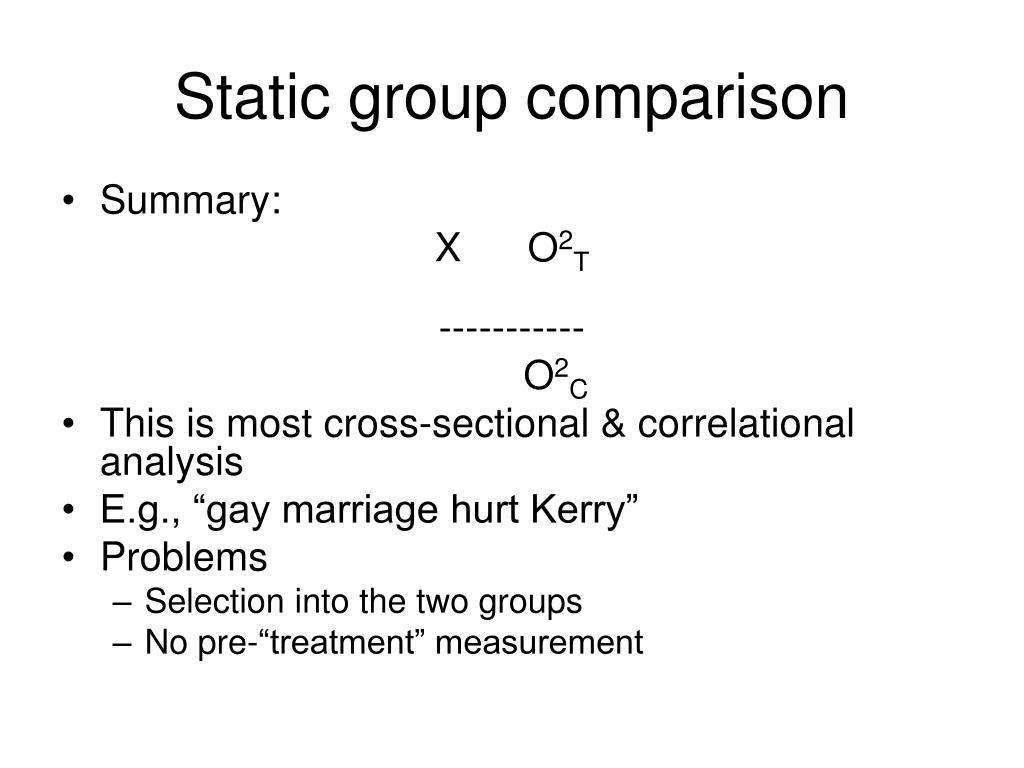 Static group comparison