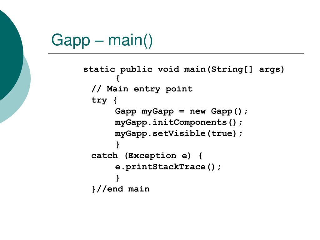 Gapp – main()