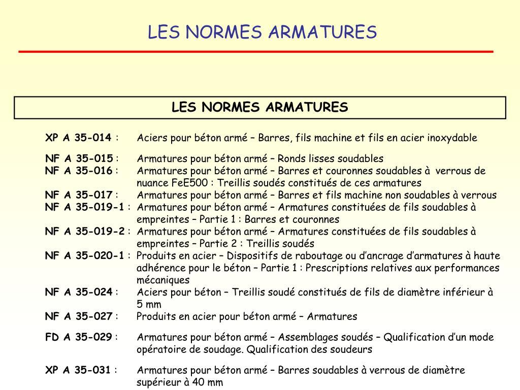 LES NORMES ARMATURES