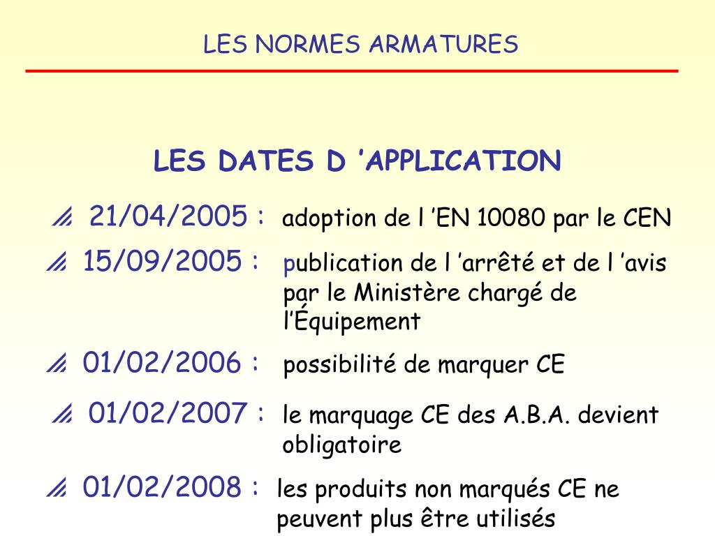 LES DATES D 'APPLICATION