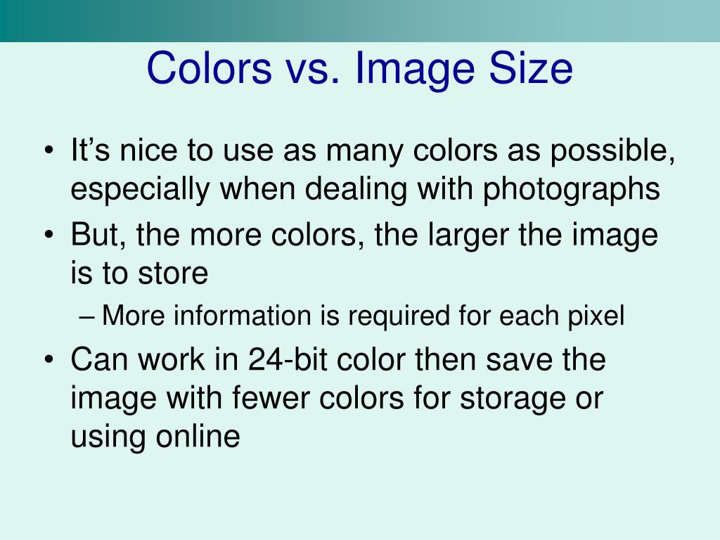 Colors vs. Image Size