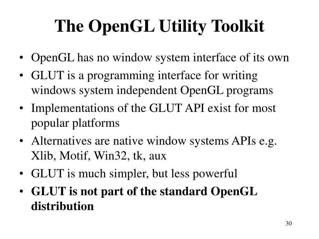 The OpenGL Utility Toolkit