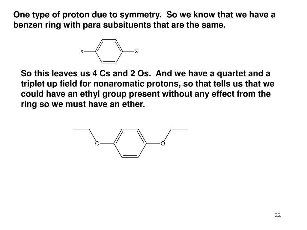 One type of proton due to symmetry.  So we know that we have a benzen ring with para subsituents that are the same.