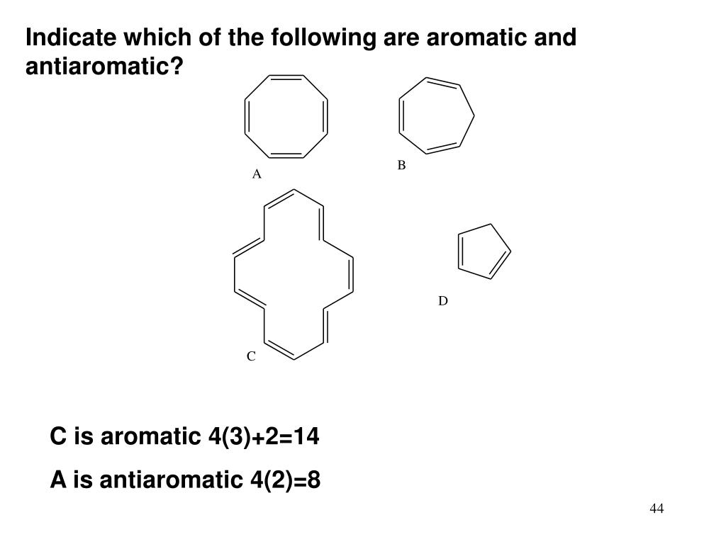 Indicate which of the following are aromatic and antiaromatic?