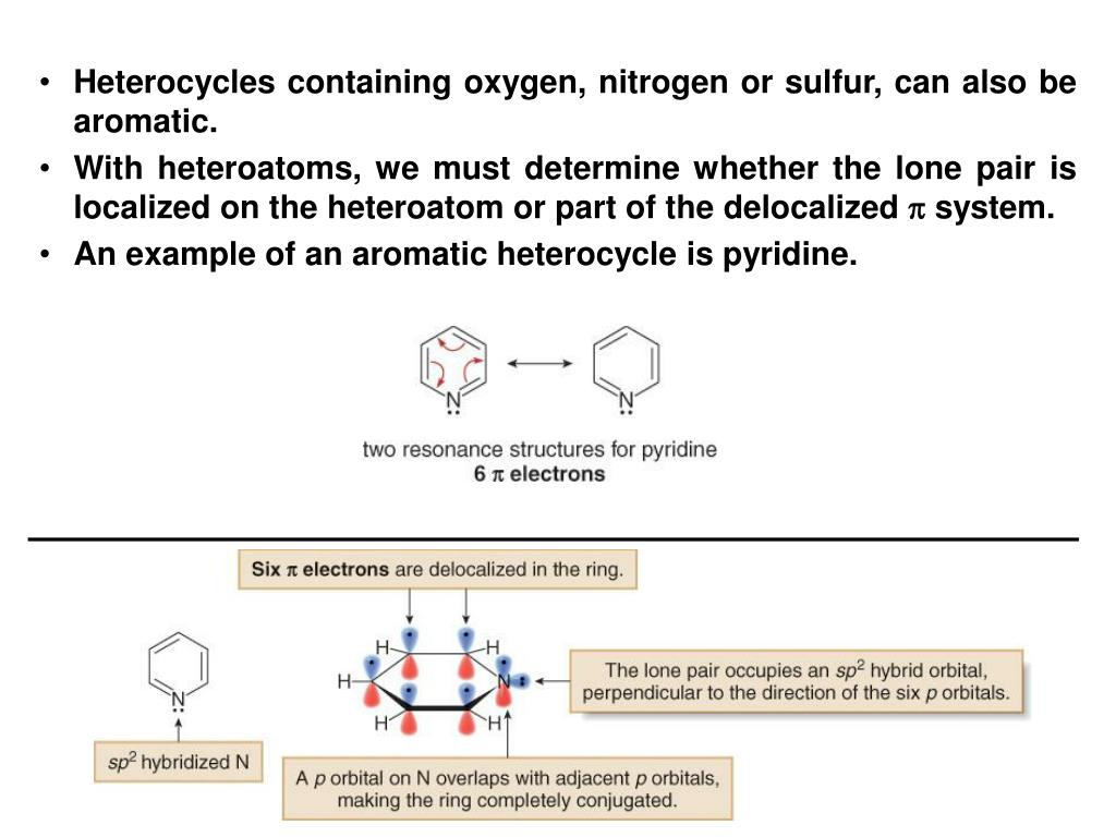 Heterocycles containing oxygen, nitrogen or sulfur, can also be aromatic.