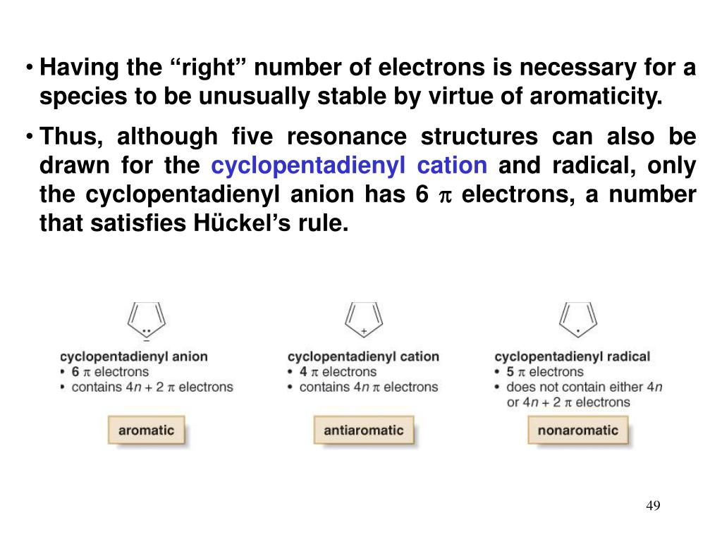 """Having the """"right"""" number of electrons is necessary for a species to be unusually stable by virtue of aromaticity."""