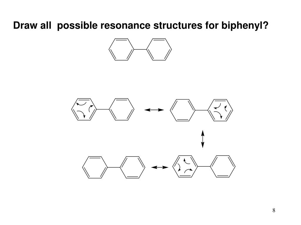 Draw all  possible resonance structures for biphenyl?