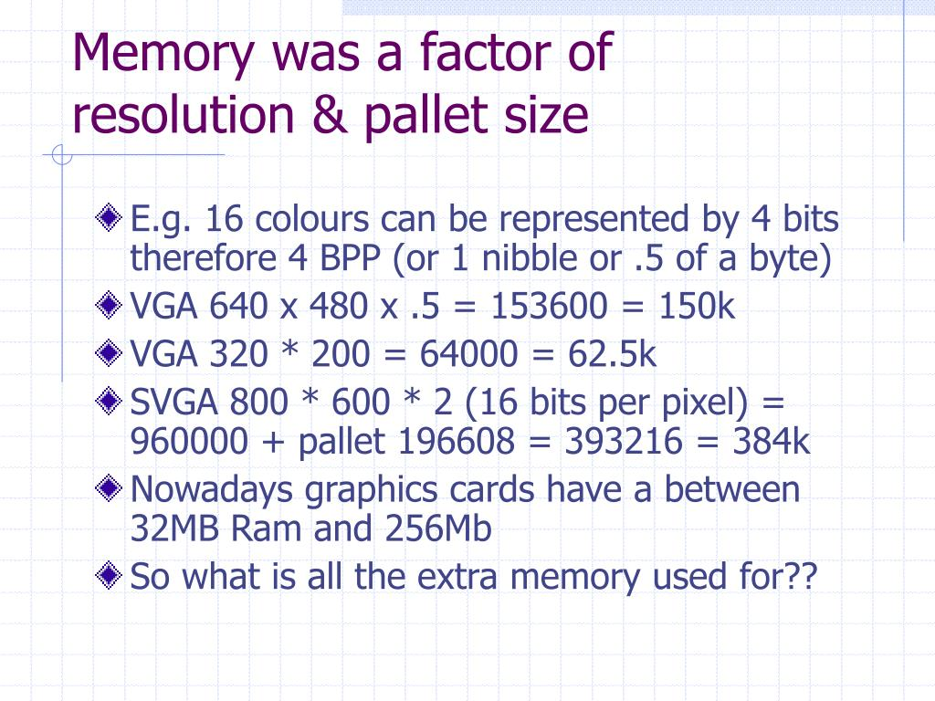 Memory was a factor of resolution & pallet size