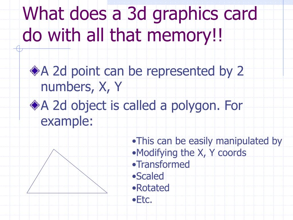 What does a 3d graphics card do with all that memory!!