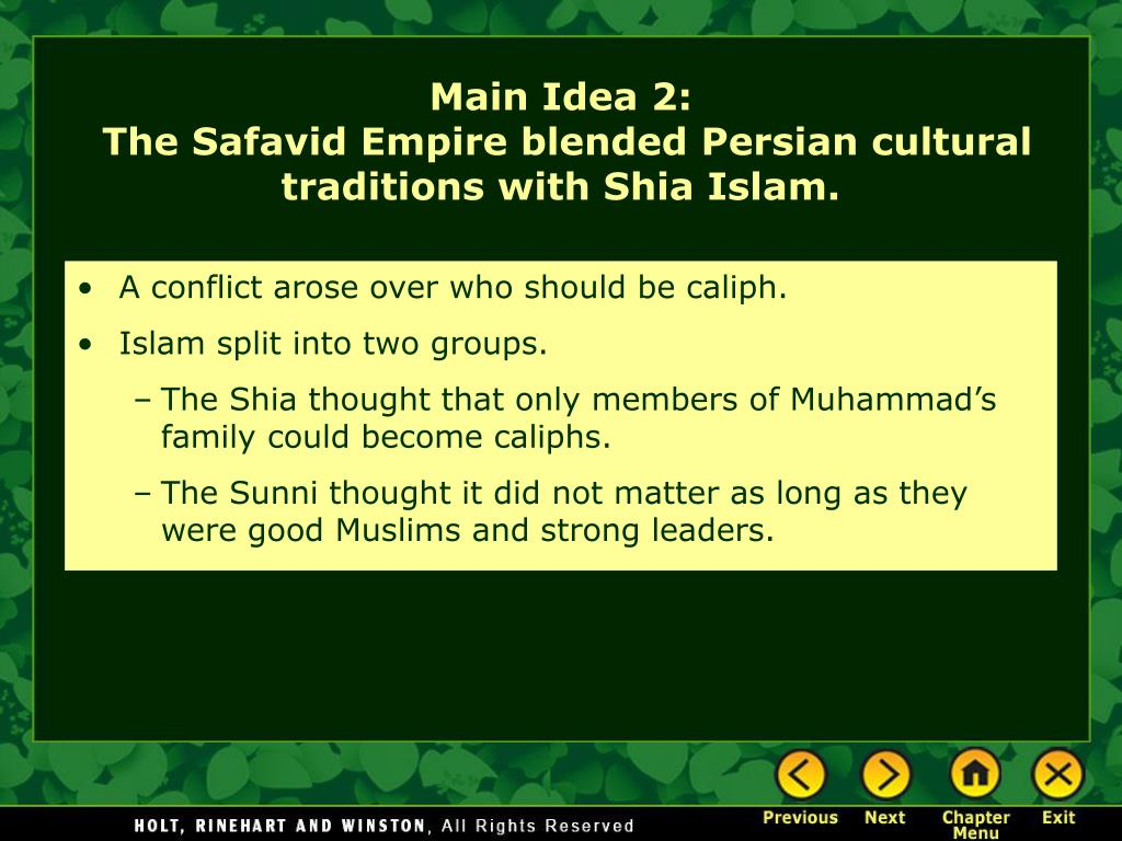 A conflict arose over who should be caliph.