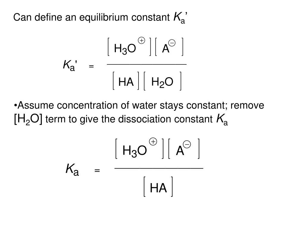Can define an equilibrium constant