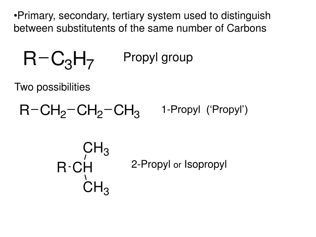 Primary, secondary, tertiary system used to distinguish between substitutents of the same number of Carbons
