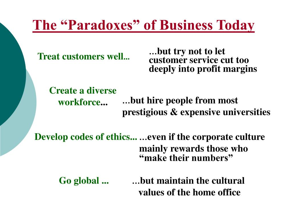 "The ""Paradoxes"" of Business Today"