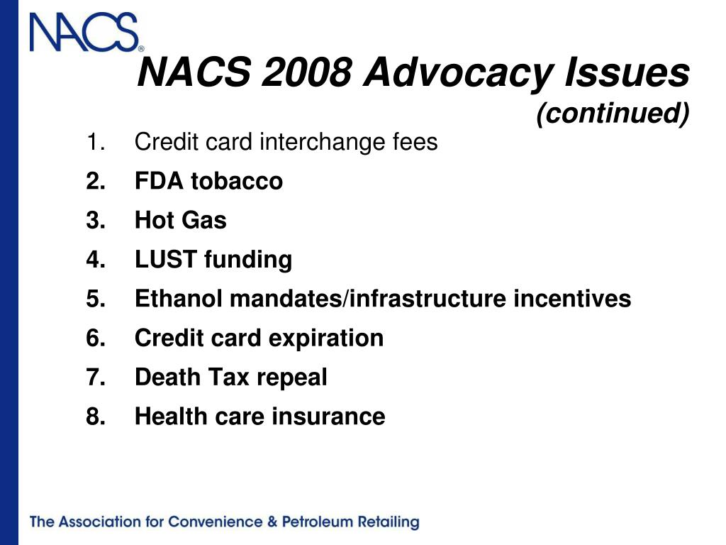 NACS 2008 Advocacy Issues