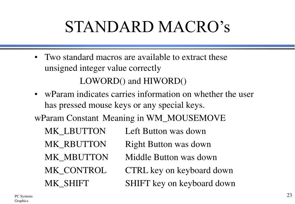 STANDARD MACRO's