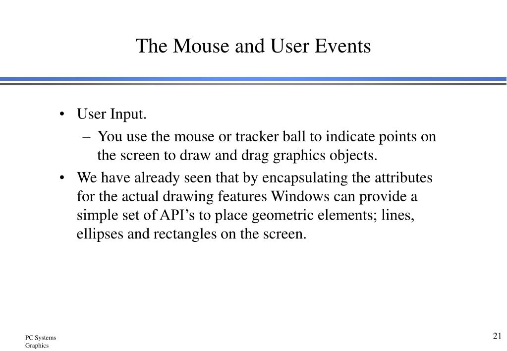 The Mouse and User Events
