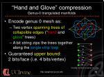 hand and glove compression genus 0 triangulated manifolds
