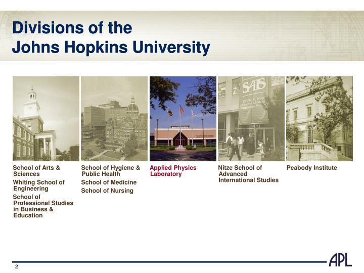 Divisions of the johns hopkins university