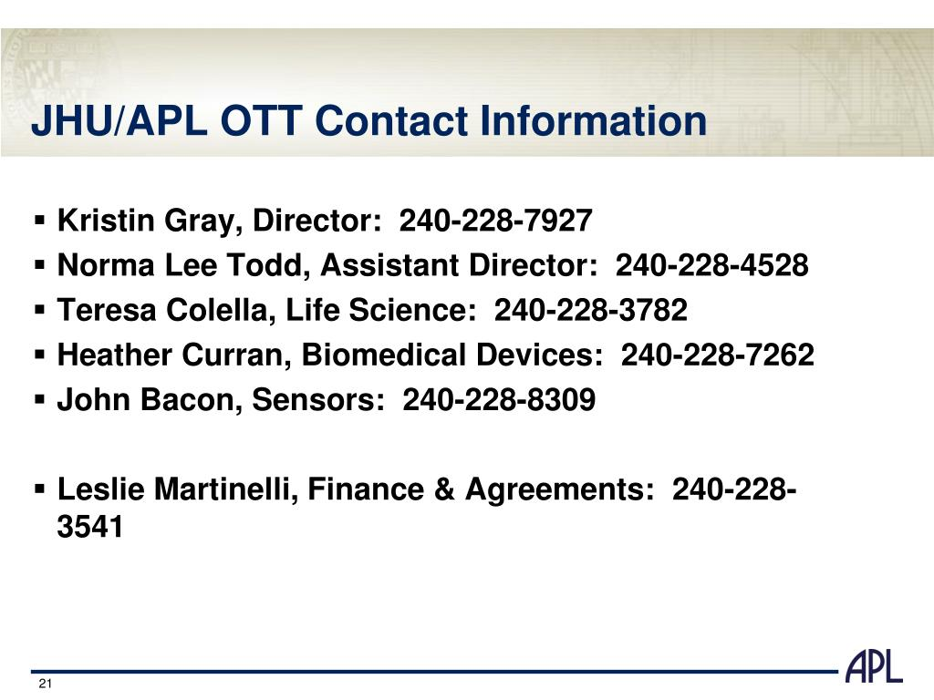 JHU/APL OTT Contact Information