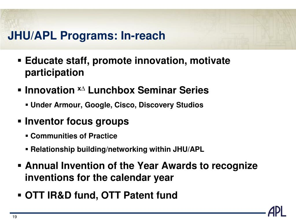 JHU/APL Programs: In-reach