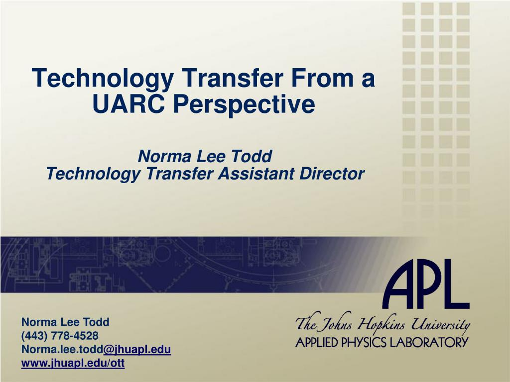 Technology Transfer From a UARC Perspective
