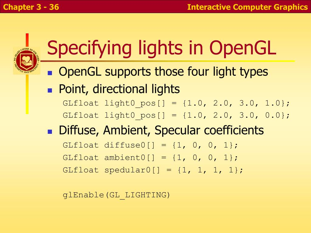 Specifying lights in OpenGL