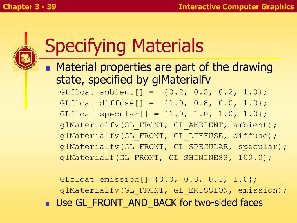 Specifying Materials