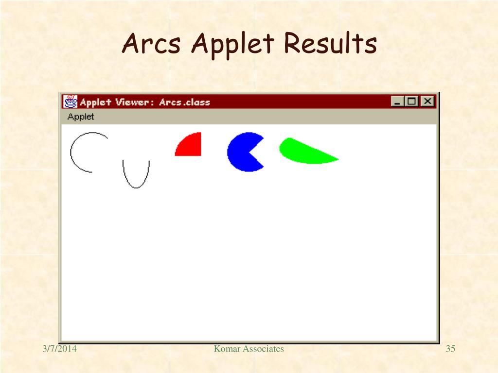 Arcs Applet Results