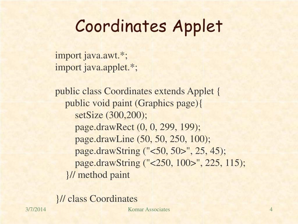 Coordinates Applet