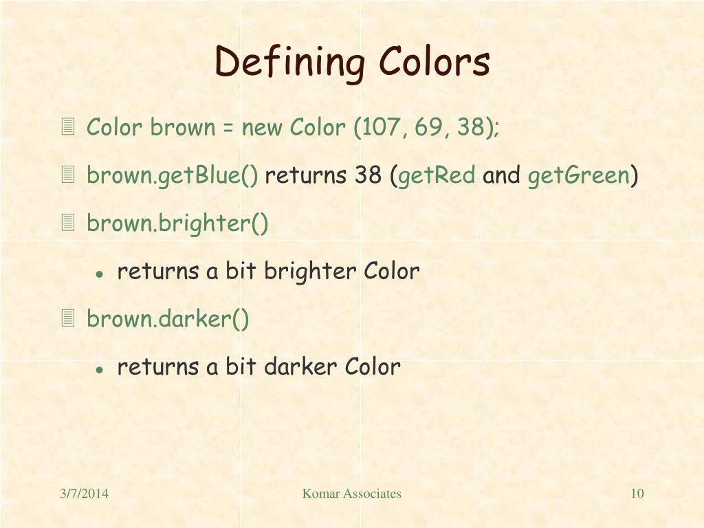 Defining Colors