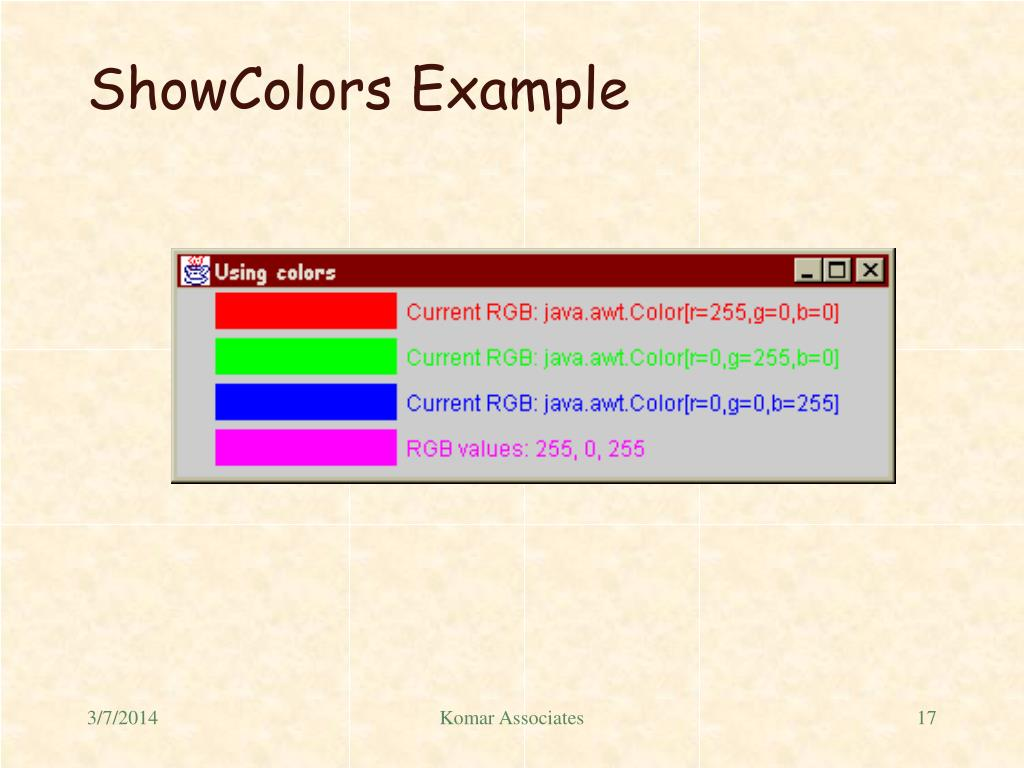 ShowColors Example