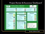 project review assurance dashboard