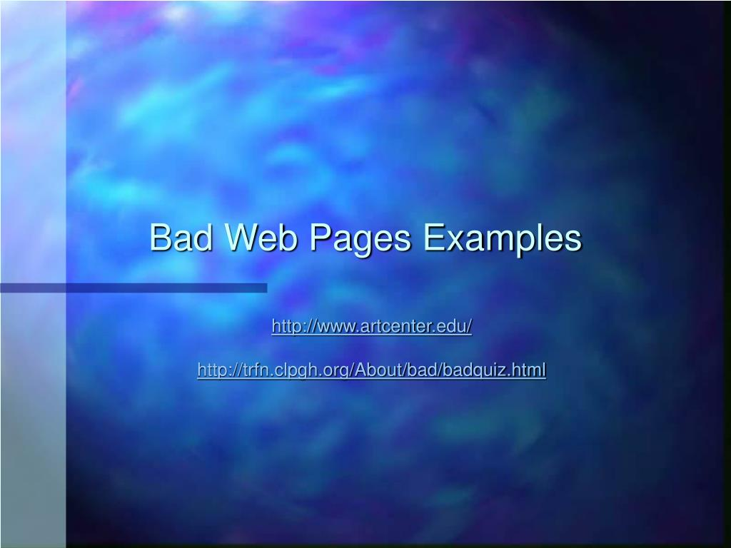 Bad Web Pages Examples