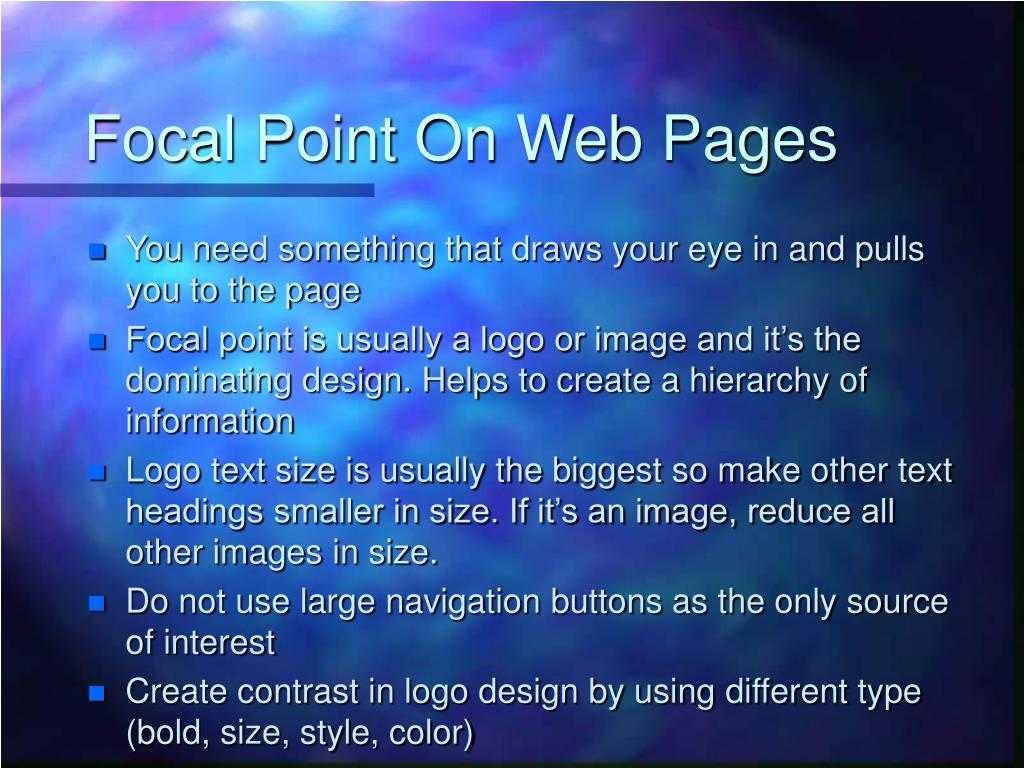 Focal Point On Web Pages
