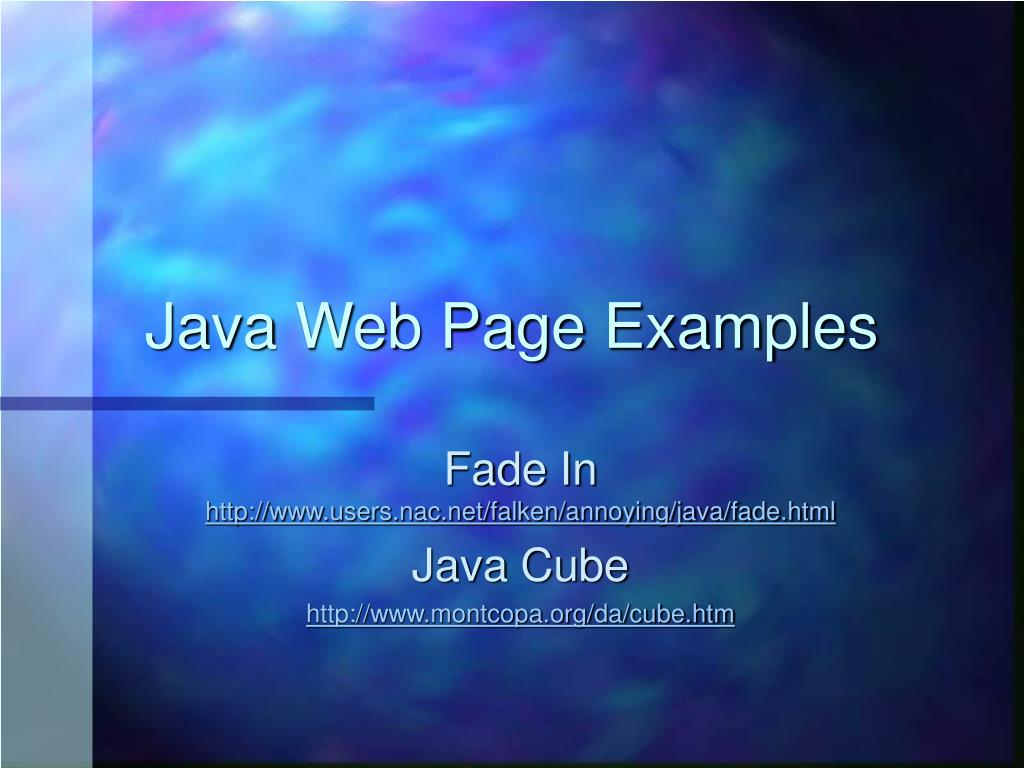Java Web Page Examples
