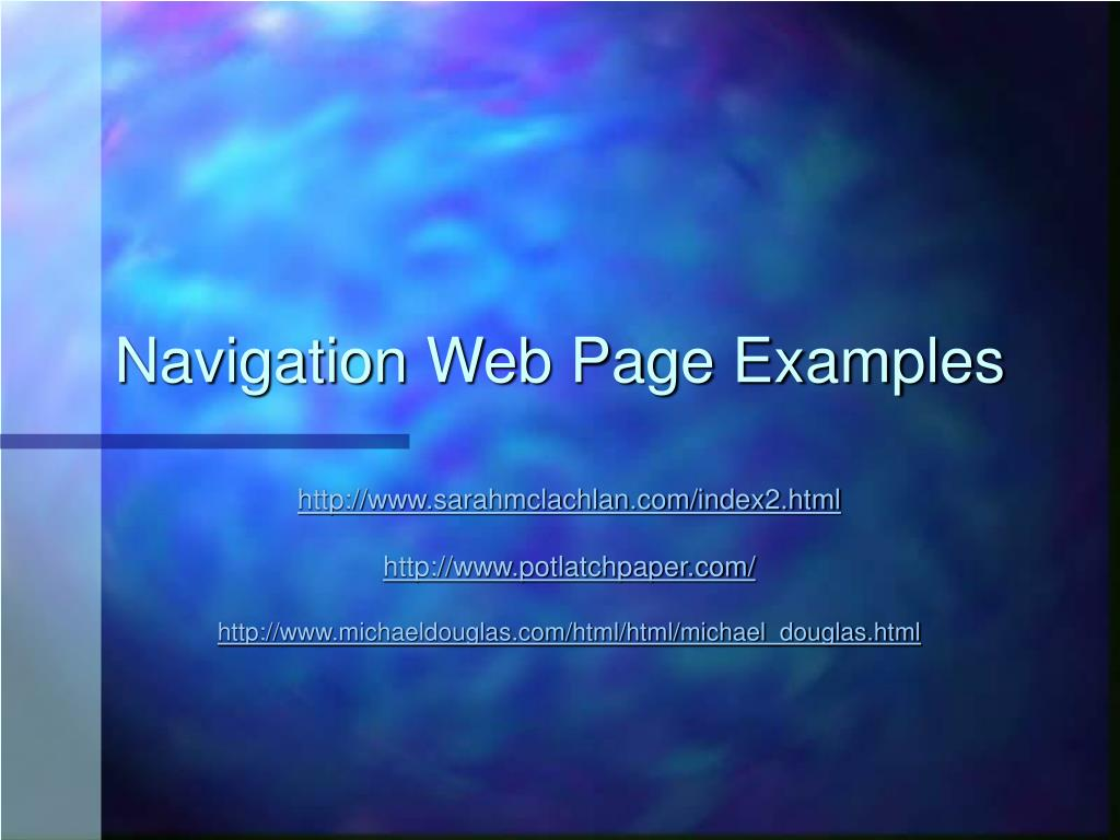 Navigation Web Page Examples