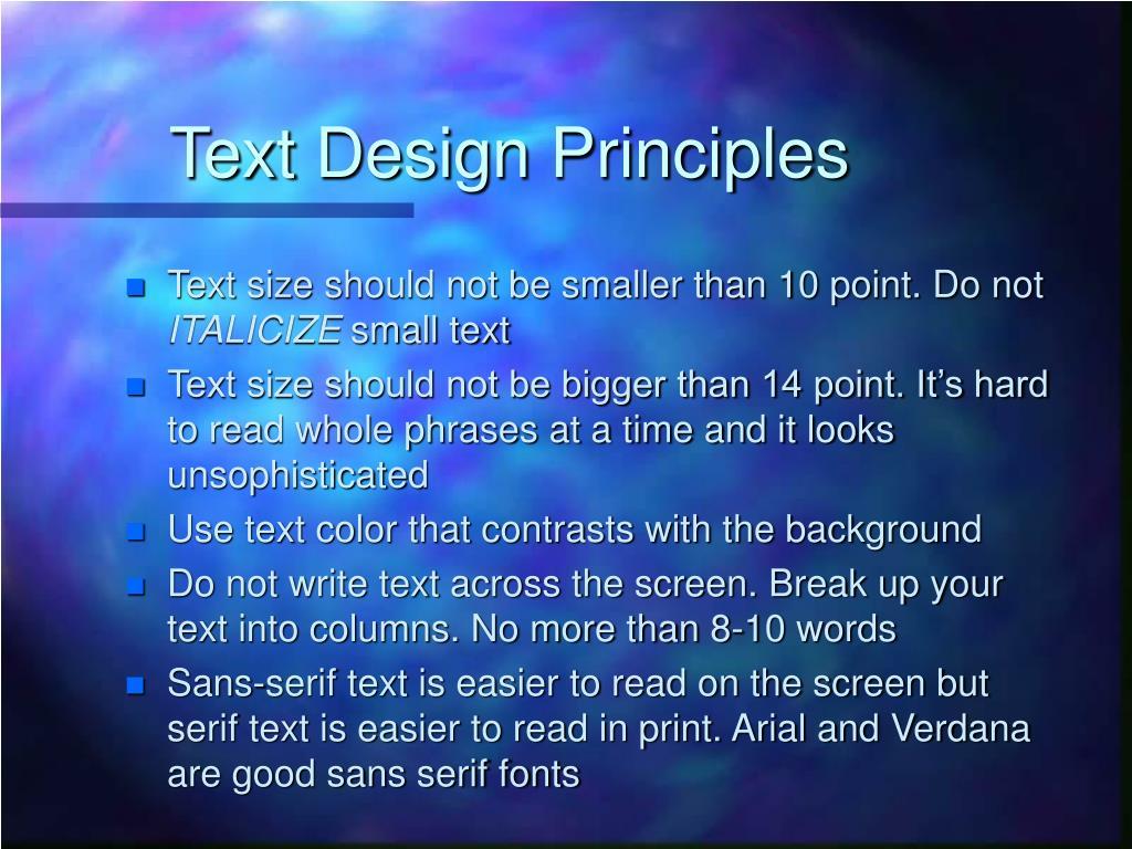 Text Design Principles