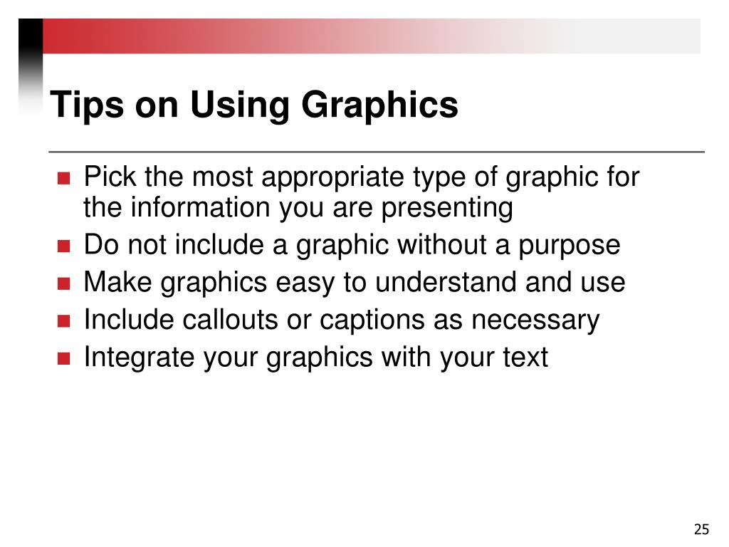Tips on Using Graphics
