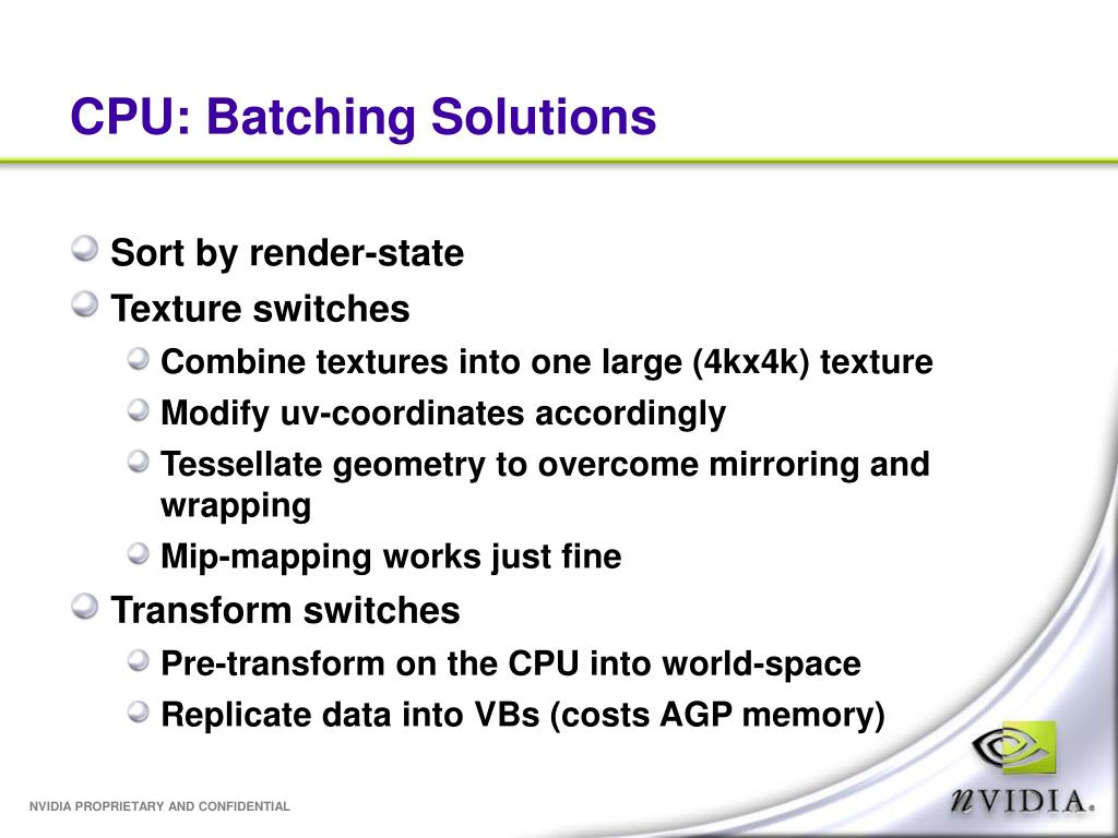 CPU: Batching Solutions